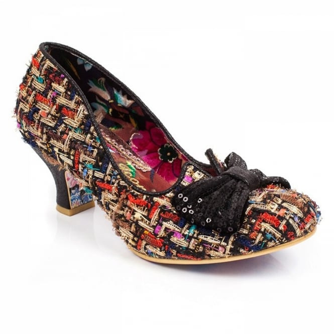 Irregular Choice Dazzle Razzle 4136-04AM Womens Ragged Tweed Low Court Shoes - Black and Gold