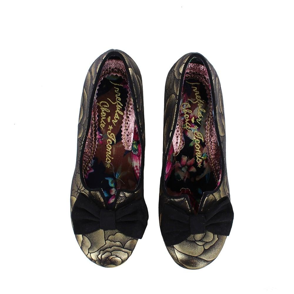 402eb84d64b Dazzle Razzle 4136-4AQ Womens Low Court Shoes - Gold And Black