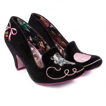 Irregular Choice Fuzzy Peg 4255-27C Womens Court Shoes - Black