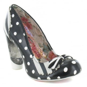 Irregular Choice Dot To Dot Womens Leather High Heel Court Shoes - Black & White