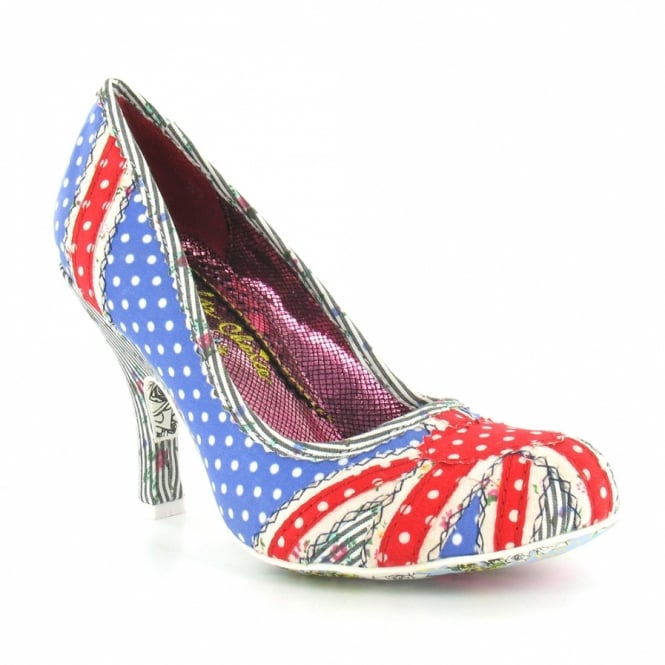 Irregular Choice Patty 3614-14E Womens Union Jack Patchwork High Heel Court Shoes - Red, White, Blue + Black