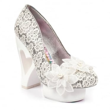 Irregular Choice Rosie Posy 3941-02A Heart Heel Platform Court Shoes - White