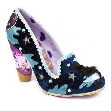 Irregular Choice Stars At Night 3801-69A Womens High Heel Court Shoes - Navy