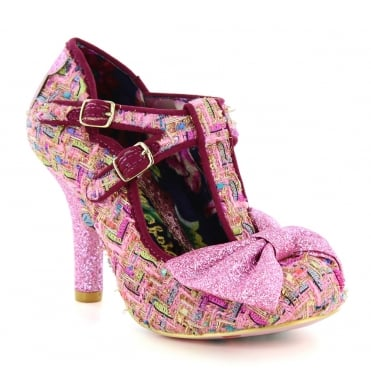 Irregular Choice Sundae Sprinkles 4331-11B Womens Ragged Tweed High Heel Court Shoes - Pink And Gold