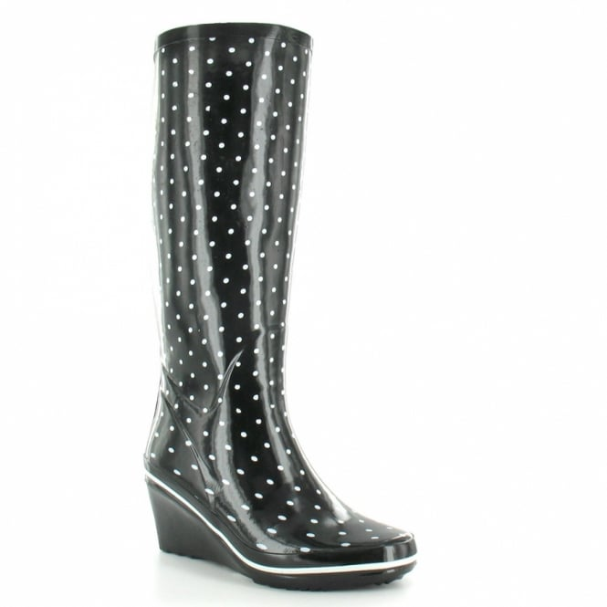 Jacobson Womens Tall Wedge Heel Wellington Boots - Black & White