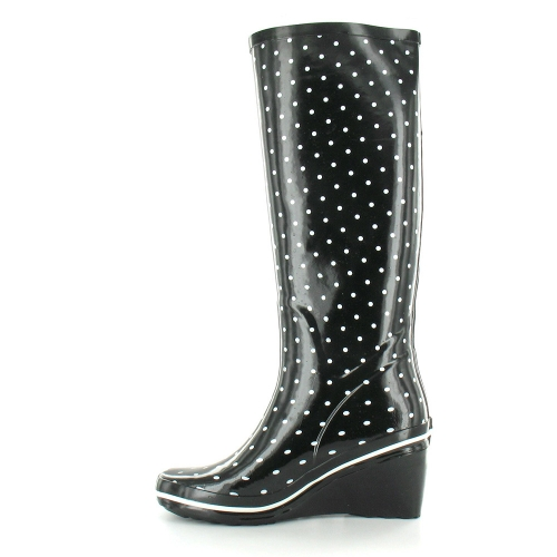 jacobson womens wedge heel wellington boots in black