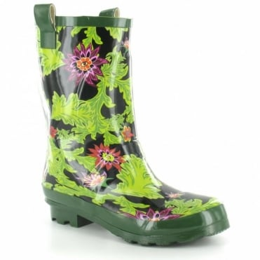 Jacobson Womens Floral Print Short Wellington Boots - Black & Green Floral