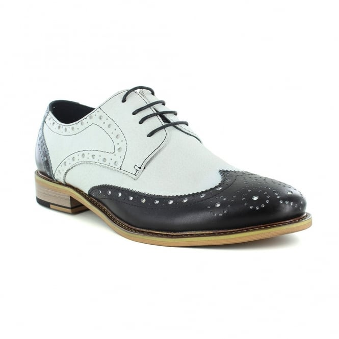 Justin Reece Churchill Mens Two Tone Lace Up Brogue Shoe - Black/White