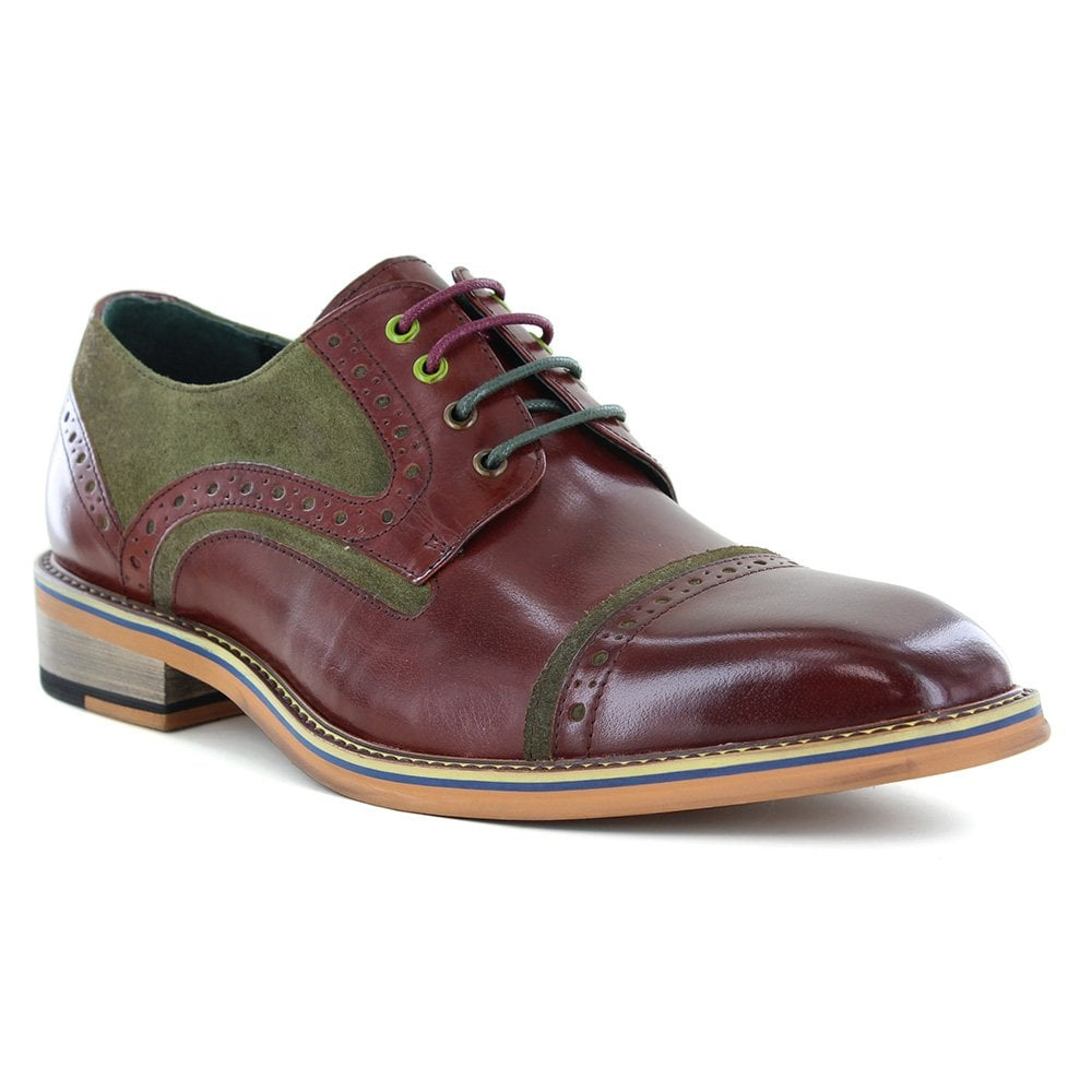 Justin Reece Dennis Mens Leather And Suede Full Brogue Shoes - Wine Red And  Olive Green 966d94217447