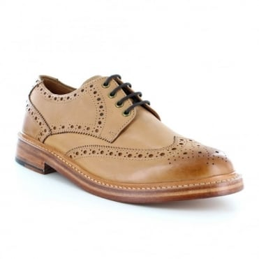 Justin Reece Stan Mens Leather Brogue Shoes - Tan