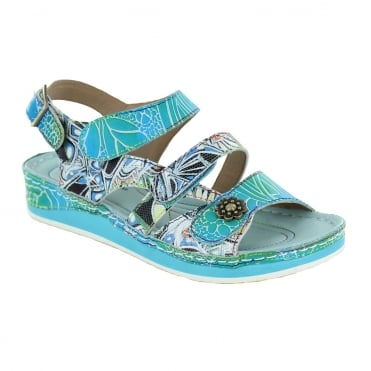 Laura Vita Bruel 068 SL150420-6A Womens Leather Sandals - Turquoise