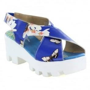 Laura Vita Virus SL9766-4A Womens Leather Platform Sandals - Blue
