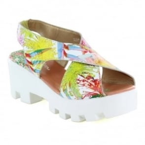 Laura Vita Virus SL9766-4A Womens Leather Platform Sandals - Coral