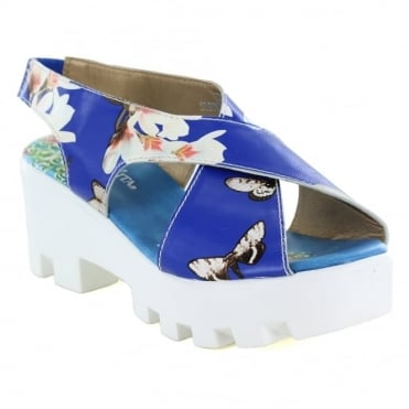 Laura Vita Virus SL9766-4A Womens Leather Platform Sandals - Blue