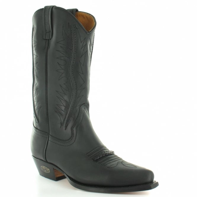 Loblan 2616 Mens Leather Western Cowboy Boots - Black