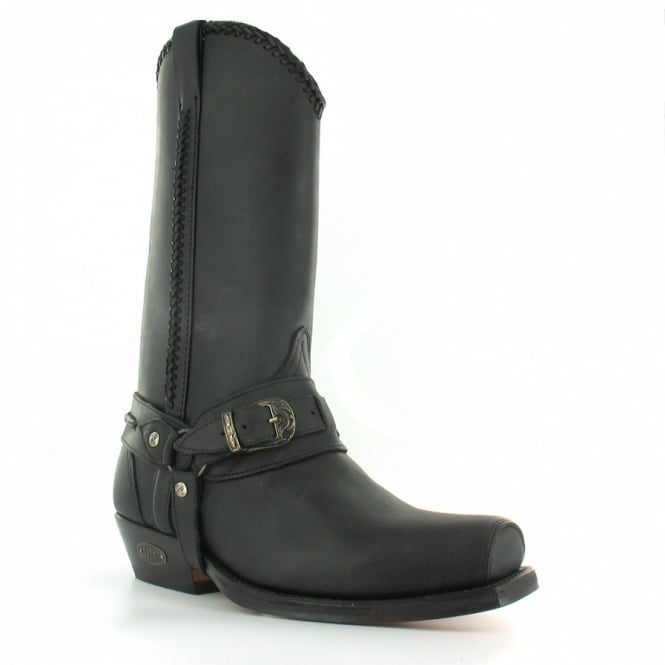 Loblan 548 Mens Leather Western Cowboy Boots - Black