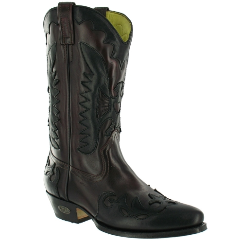 loblan 261 mens leather western cowboy boots black