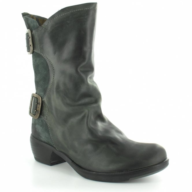 Fly London Mango Womens Leather Slouch Ankle Boots - Anthracite Grey Green 24988e82905d
