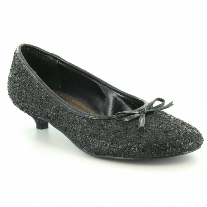 67144fc858a5 London Rebel 40534P Womens Kitten Heel Sparkly Pumps - Black - Low ...