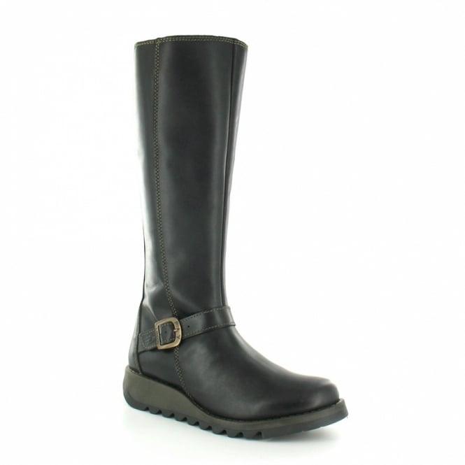 57a2e8251b0c3 Fly London Sara Warm Womens Leather Tall Boots - Black - Knee-length ...