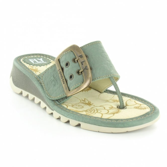 21a72d2829c16 Fly London Trin Womens Leather Low Wedge Toe Post Sandals - Green