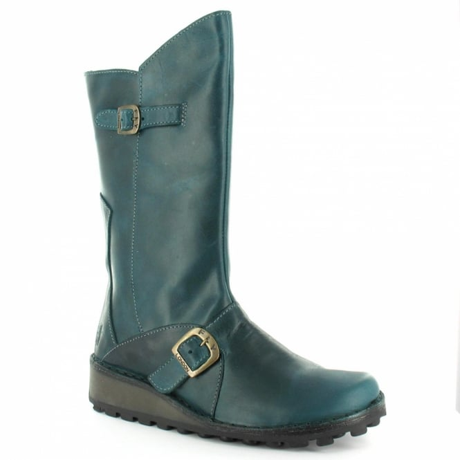 Fly London Mes Womens Mid-calf Leather Boots - Petrol Green - Mid ... bd16d6e4c02d