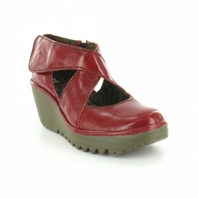 2bed1d290373 Fly London Yogo Womens Patent Leather Wedge Heel Shoes - Red - Casual Shoes  from Scorpio Shoes UK