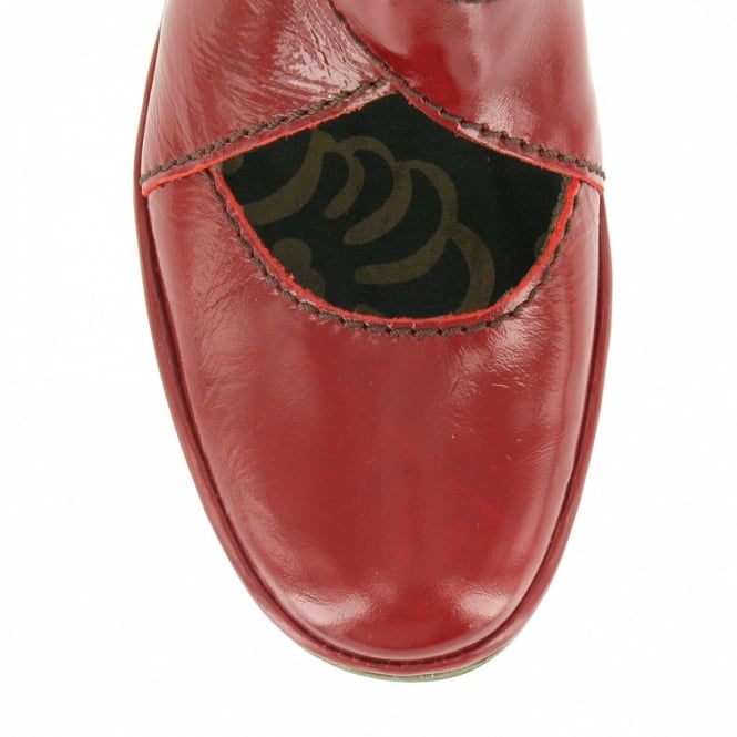 0c7ade815407 Fly London Yogo Womens Patent Leather Wedge Heel Shoes - Red ...