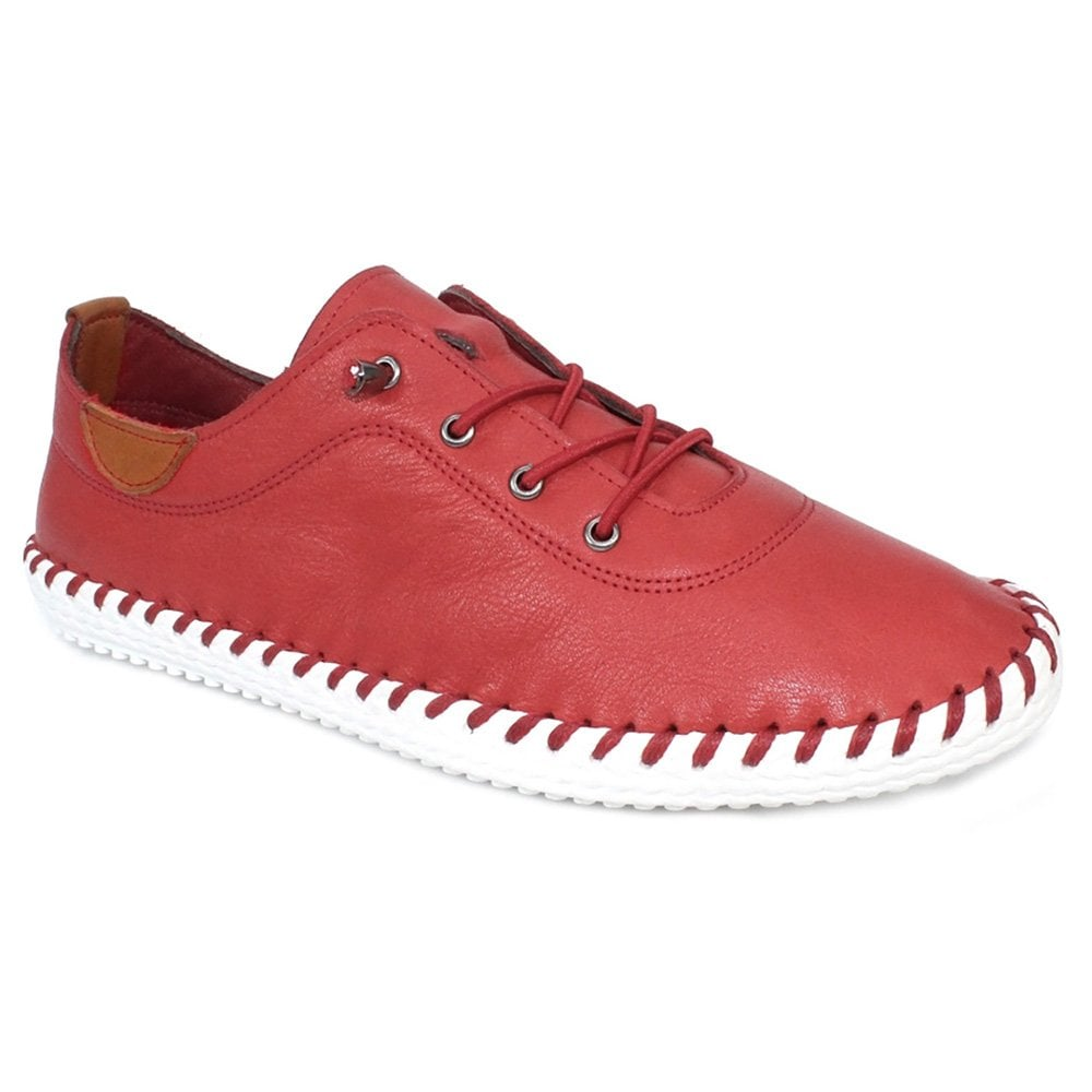 Lunar St Ives Womens Leather Plimsoll