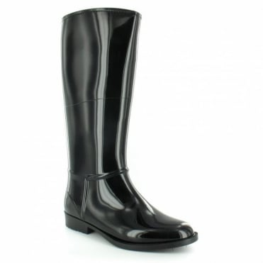 Lunar ELG 001 Womens Warm-lined High-shine Wellington Boots - Black