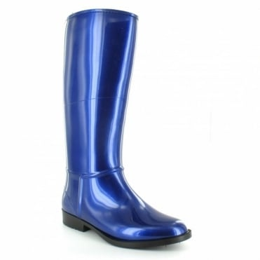 Lunar ELG 001 Womens Warm-lined Metallic Wellington Boots - Blue