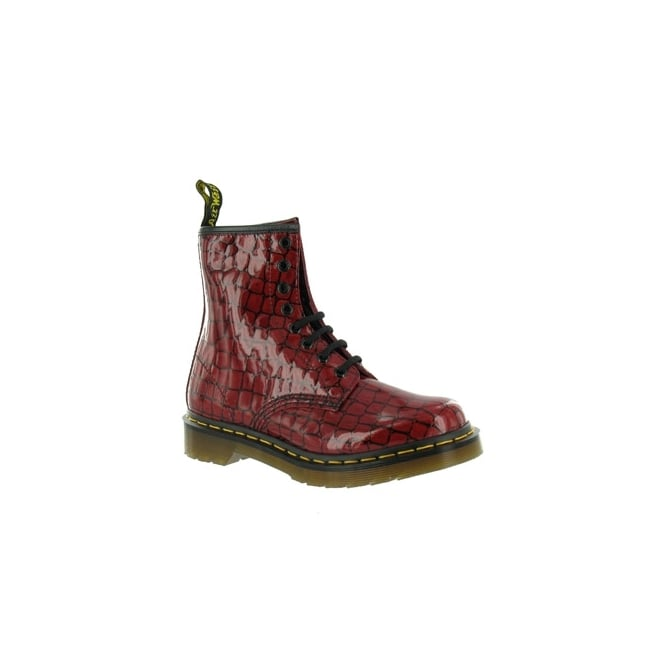 8df4259fbee69f Dr Martens 1460 Croc Womens Patent Leather Ankle Boots - Red Patent ...