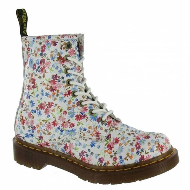 Dr Martens 1460 W Womens Leather Ankle Boots - White Flowers ... 2b4cdc894