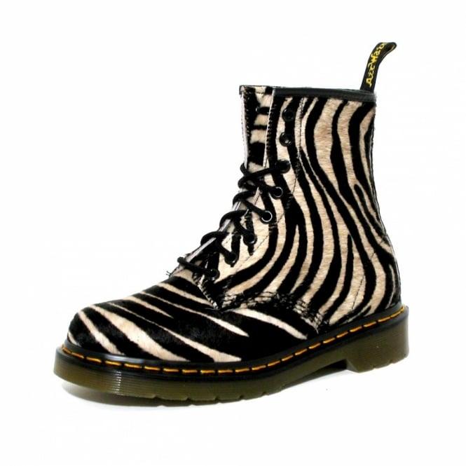 069defd1ef65 Dr Martens 1460 Womens Zebra Hair On Ankle Boots - Black + White ...