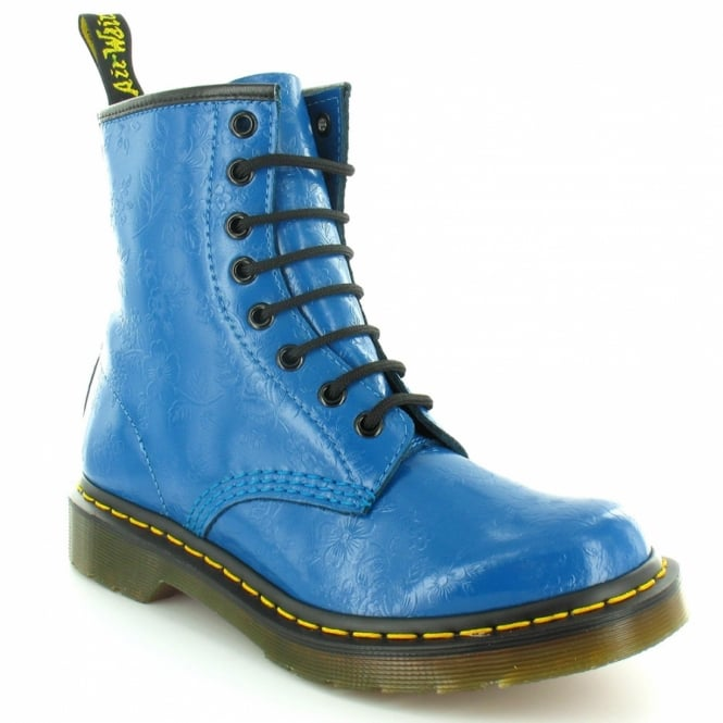 Dr Martens 1460W QQ Flowers Womens Leather 8-Eyelet Ankle Boots - Teal Turquoise Blue