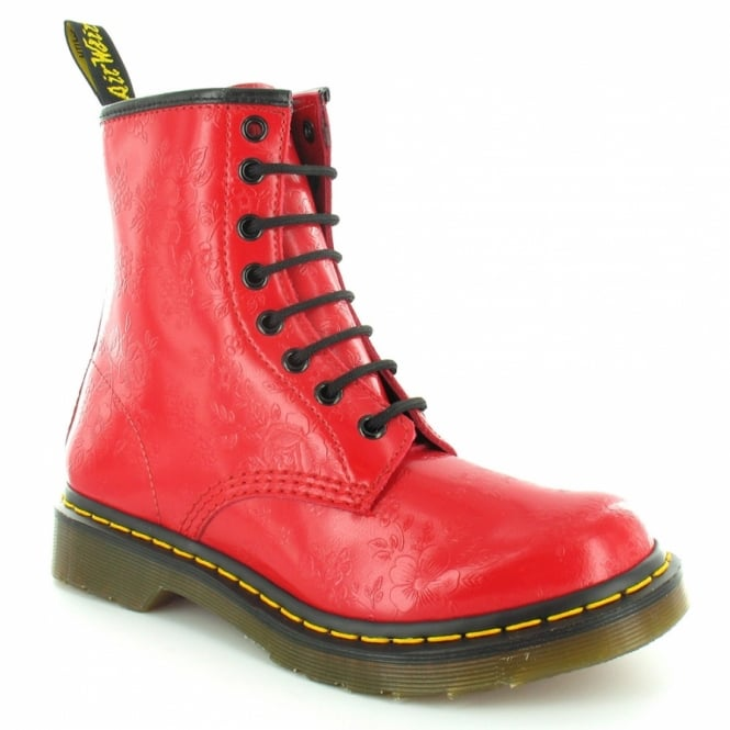 Dr Martens 1460W QQ Flowers Womens Leather 8-Eyelet Ankle Boots - Bright Red 825c0e67d