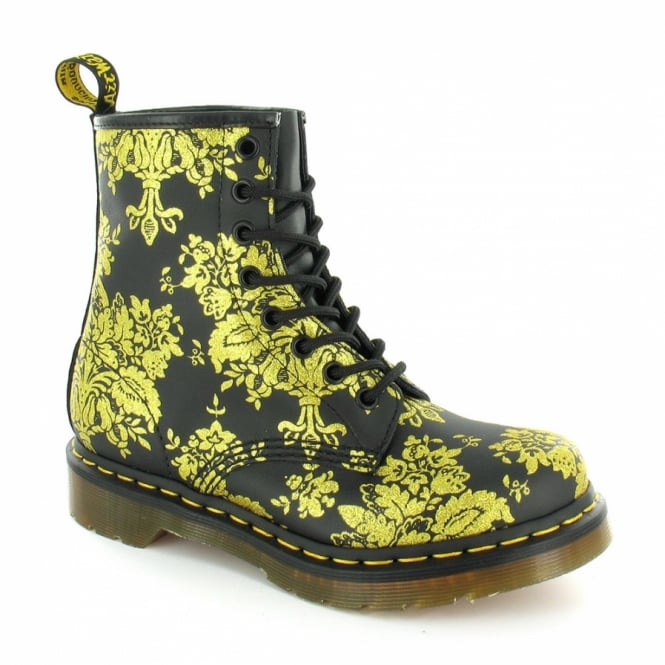d0ce066d6eb9 Dr Martens 1460W Glitter Flocking Womens Leather 8-Eyelet Ankle Boots -  Black+Gold
