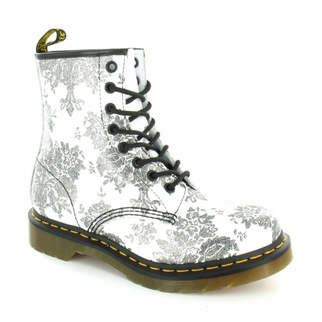 c803c092d67d Dr Martens 1460W Glitter Flocking Womens Leather 8-Eyelet Ankle Boots -  White+Black