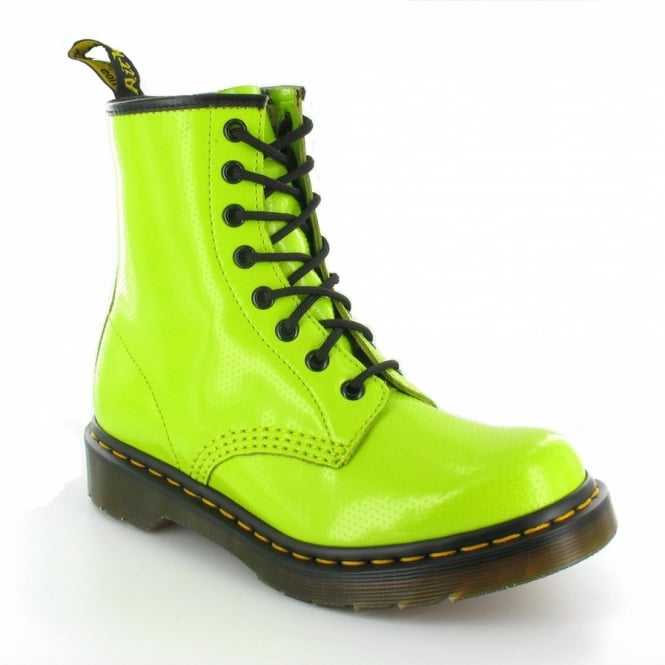 Dr Martens 1460W QQ Dot Womens 8-Eyelet Ankle Boots - Lime Green