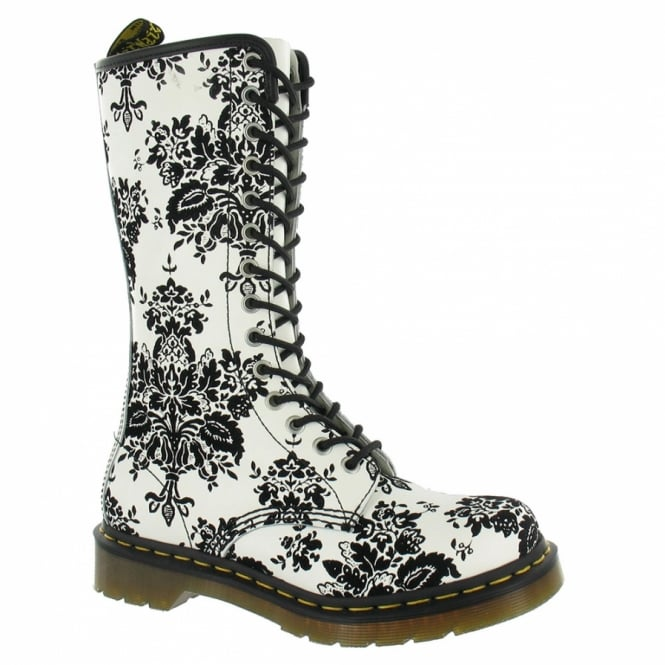 Dr Martens 1B99 Womens Leather Boots - White + Black