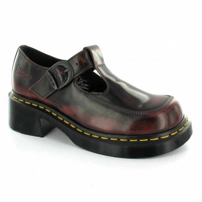 Dr Martens 8468 Womens Classic Hi-shine Leather Mary-Jane Shoes - Cherry Red c1432e286634