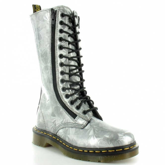 Dr Martens 9733 Silver Jewel Womens 14-Eyelet Double Zip Mid-Calf Boots - Silver