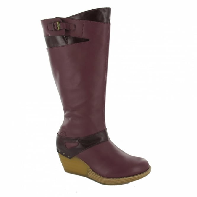 dr martens aaliyah womens leather wedge boots purple