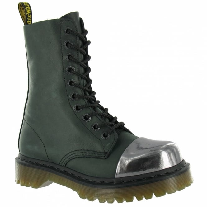 Dr Martens Alloy Womens Leather Boots - Black + Gunmetal