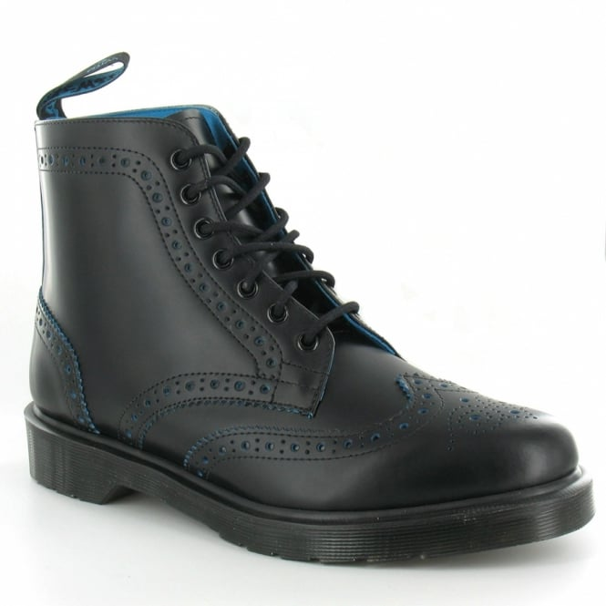 1b4fa9a7 Anthony Mens Leather Brogue Boots - Black & Blue