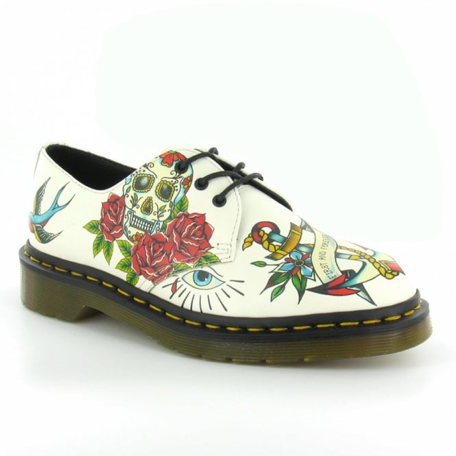 Dr Martens Applique Marcel Womens Leather Tattoo Print 3-Eyelet Shoes - Winter White
