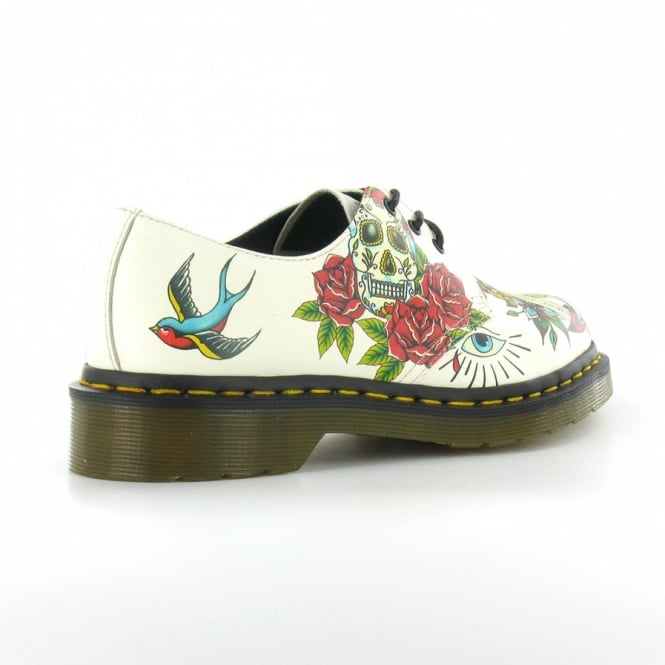 Applique Marcel Womens Leather Tattoo Print 3 Eyelet Shoes Winter White
