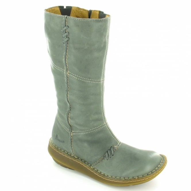 aa1be7c75745 New Authentic Wedge Womens Leather Mid-Calf Low Wedge Heel Zip Boots - Grey