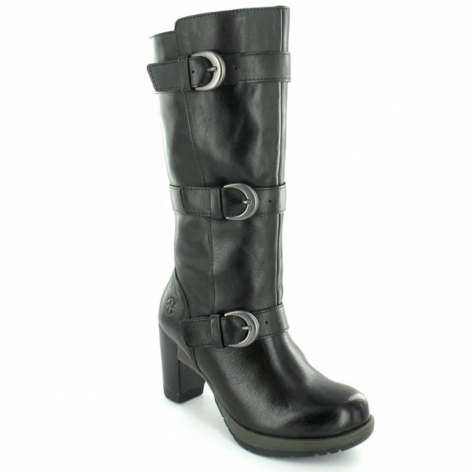 c515b78c76e Dr Martens Bellissa Womens Leather Mid-Calf High Heel Zip Boots - Black