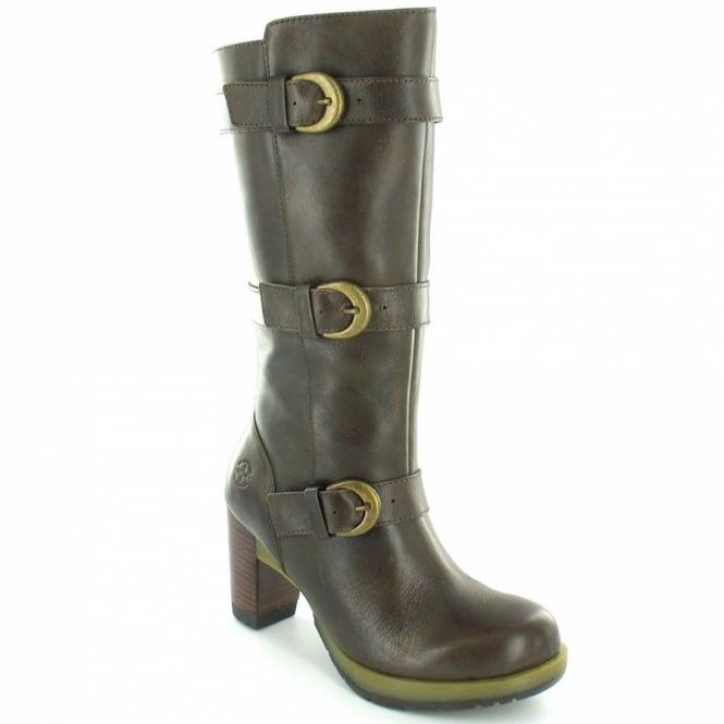 284b7851e396 Dr Martens Bellissa Womens Leather Mid-Calf High Heel Zip Boots - Dark Brown